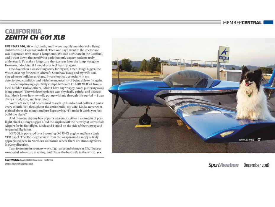 Gary Welch's Zenith CH 601 XLB in Sport Aviation magazine (December 2018)