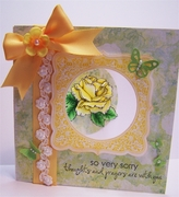 yellow rose and butterflies - open
