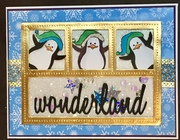 STV16MON44 - Penguins in gold foil SHAKER frame