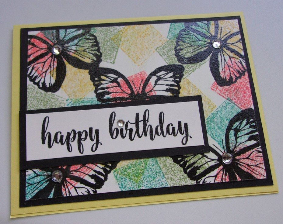 Birthday Butterflies with block ink background