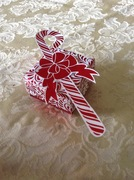 Small gift box with candy cane embelishment