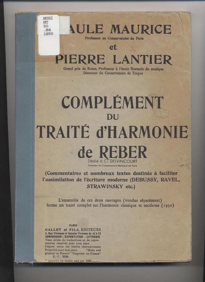 Complement Du Traite d'Harmonie de Reber