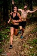 Great shot by Mile 90 Photography of Jen Shelton ( pro athlete ) overtaking speedster and local hero Justin Franklin at WarEagle TrailRun. Captures the spirit of trail racing well!