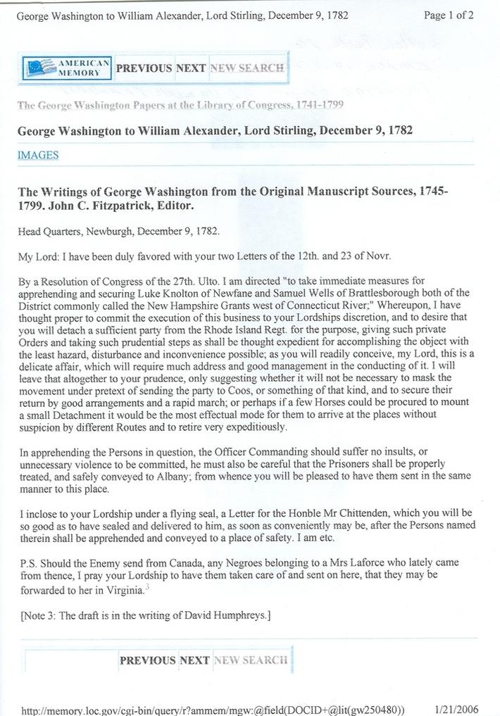 Washington, Goerge's letter - LaForce Slaves