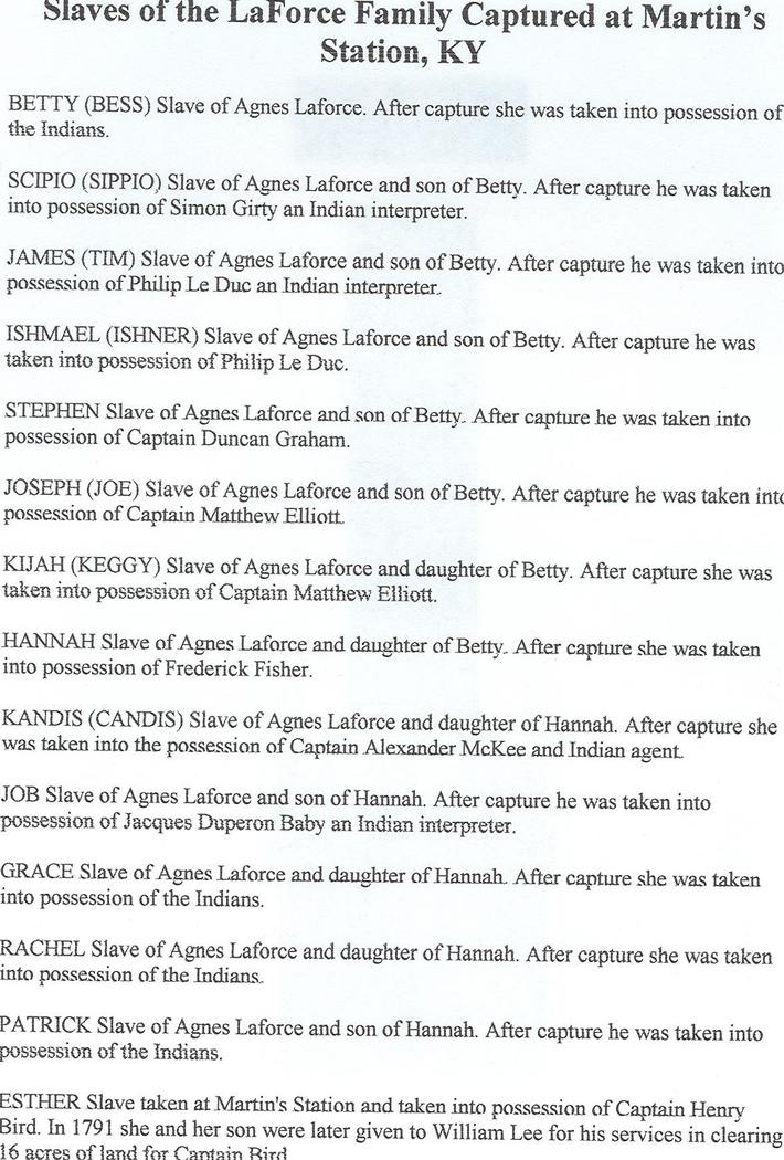 Slaves of the LaForce Family captured in KY British/Shawnee raid