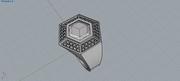 anillo octogonal con piedras