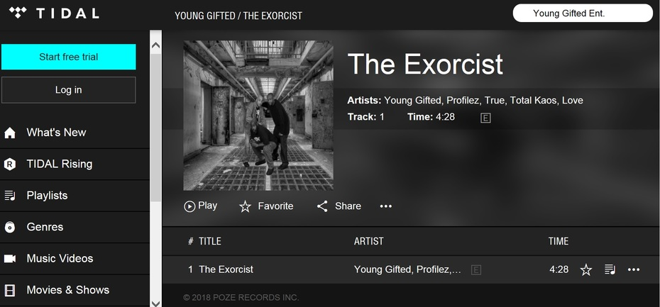 Pick Up A Copy Of Young Gifted  Latest Release...The Exorcist Available On Tidal Right Now!!