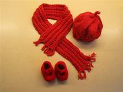 Baby Mütze,Schal, Schuhe rot