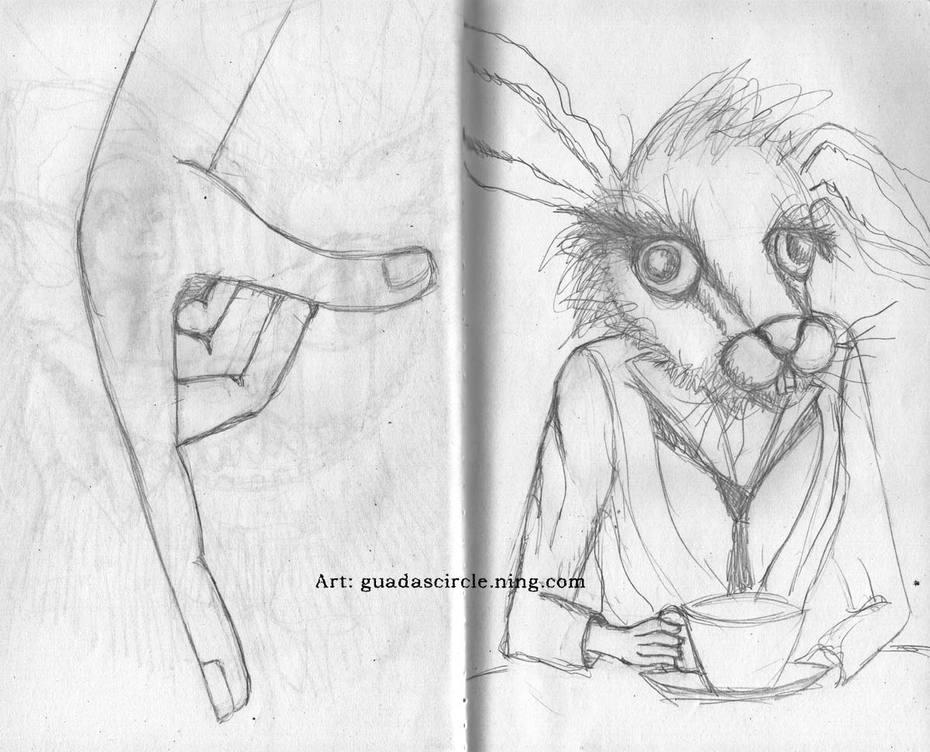 The white rabbit and hand