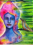RGGC -Mixed Media Rainbow Girl with a bird week1