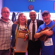 Pic of us 6-5 specials skiffle band and our local mp-Sajid javid who,d just bought our fund raising cd