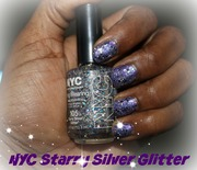 Starry Purple Glitter Nails