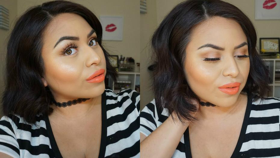 Peach tones makeup look