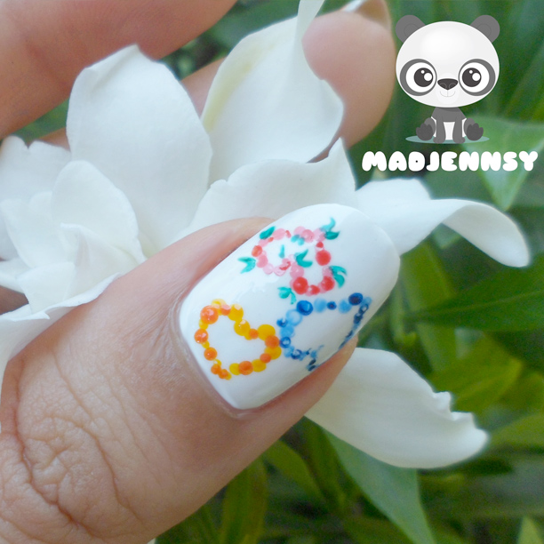 Spring Dotted Hearts Nail Art
