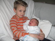 Miles, getting to know his new baby brother!