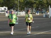 Alice and I approach the finish line of the 5K!