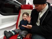 Evan's first train ride.