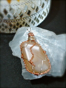 Sterling Silver & copper Wire wrapped Peace Moonstone