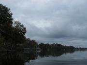 dark; heavy overcast sky -