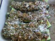 stuffed zuchinni ready for the oven