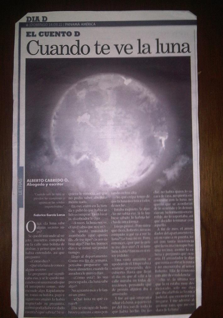 PUBLICACION DE NUEVO CUENTO DE MI AUTORIA EN EL DIARIO EL PANAMA AMERICA