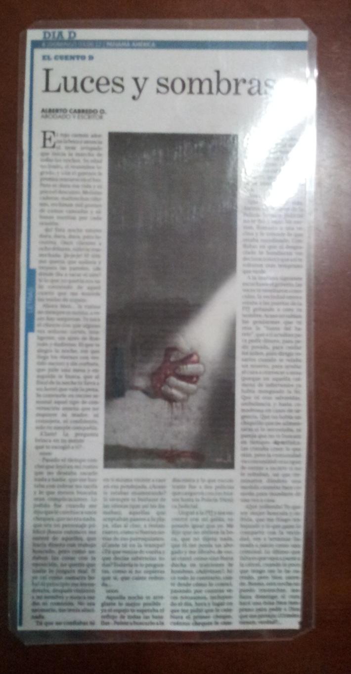 CUENTO DE MI AUTORIA PUBLICADO EL DIA DE HOY EN EL DIARIO EL PANAMA AMERICA EN EL SUPLEMENTO DIA D
