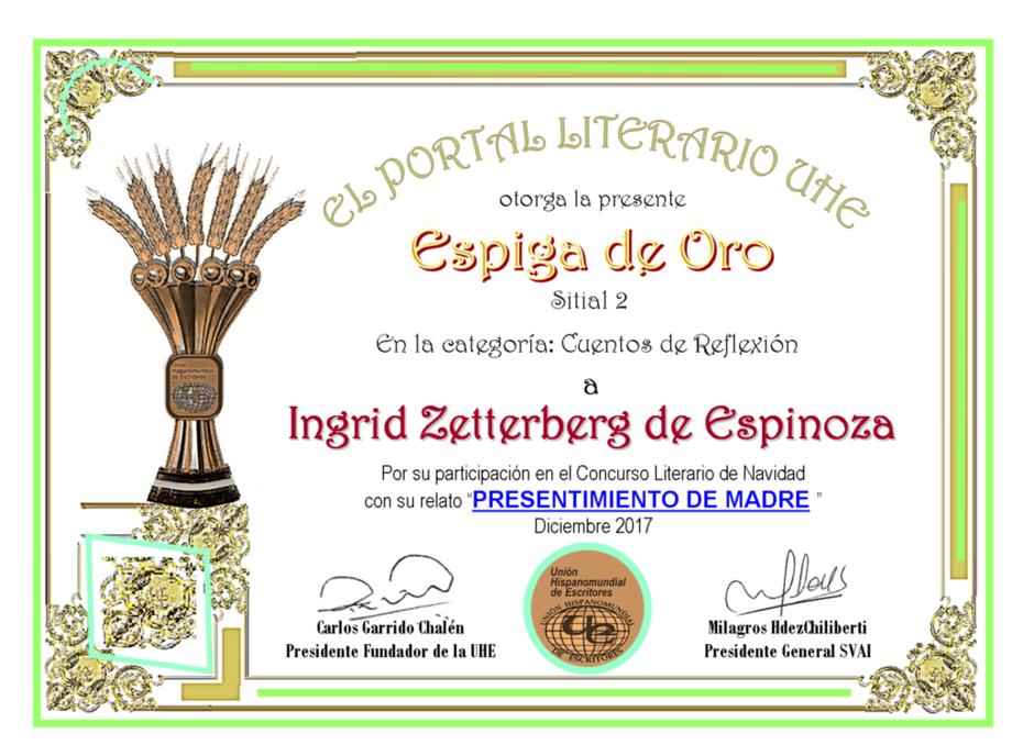 INGRID ZETTERBERG DE ESPINOZA