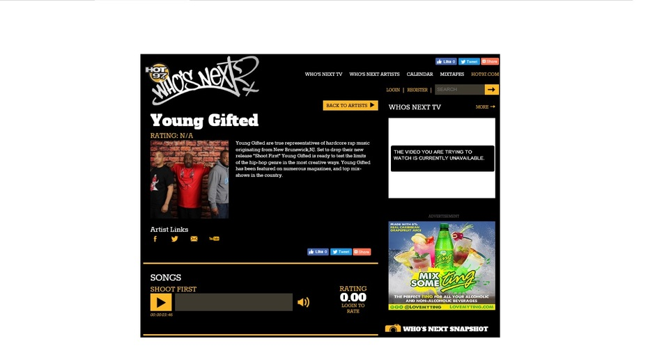 "NY Legendary Radio Station Hot 97 Featuring On ""Who's Next"" Young Gifted Hit Single Shoot First"