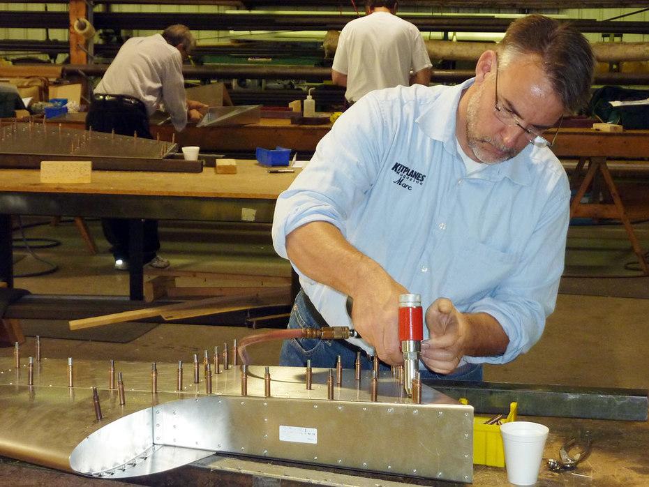 Marc Cook of KITPLANES magazine builds the rudder starter kit