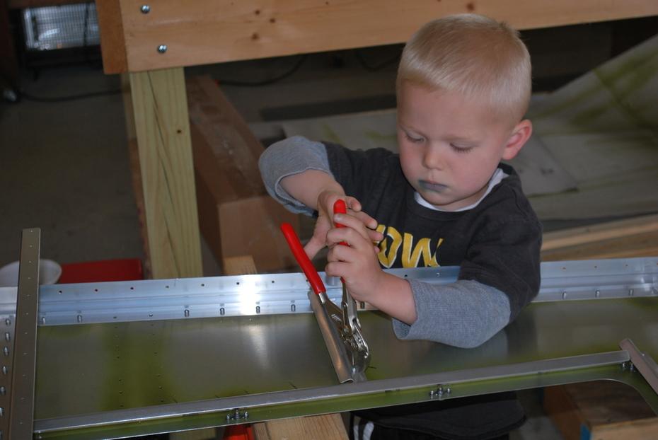 Grandson removing rivets!