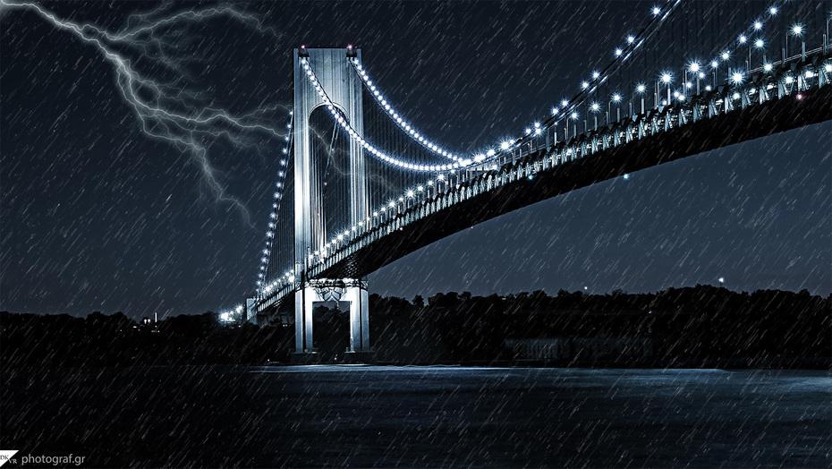 - Lightning Over Verrazano Bridge -