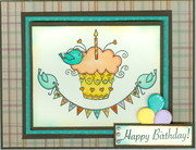 Fall birthday card cup cakes
