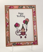 Monkey With Balloons Birthday Card