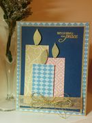 Christmas card in blue, pink, and kraft