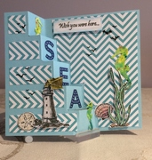 seascape vertical step card - birthday number