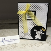 white Easter Bunny -  Black and white with a pop of colour