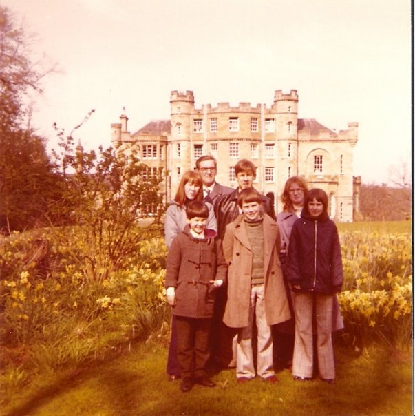 family at a castle