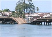 Destroyed bridge in Monrovia, Liberia