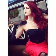 Dixiefried Bustier Top and Red Ruffles Skirt Deadly Dames