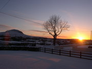 Snowy sunset at Slemish