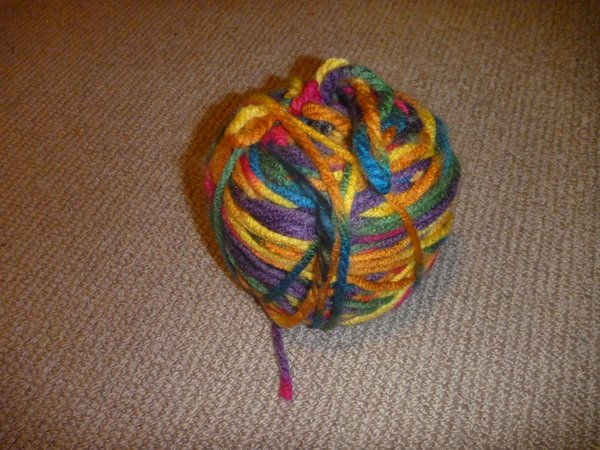 Colourful yarn that I used to make my saddle cover