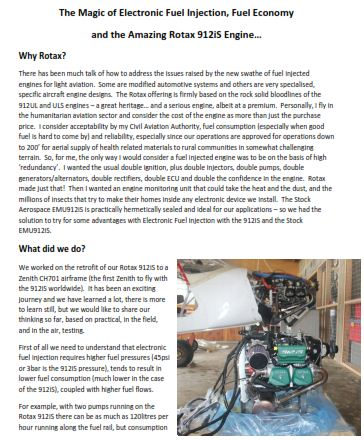 Research and Results for Fuel Supply Solutions Rotax 912iS