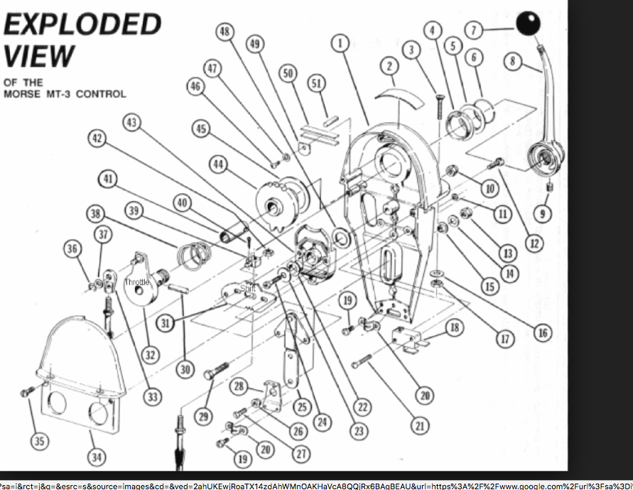 Morse single lever throttle-shift controls vintage 1971