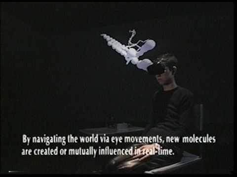 "Seiko Mikami's interactive media art installation ""molecular informatics  via eye tracking"""