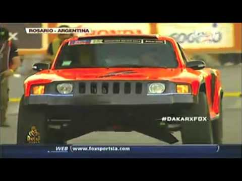 Robby Gordon jumps the Gordini at the 2014 Dakar presentation