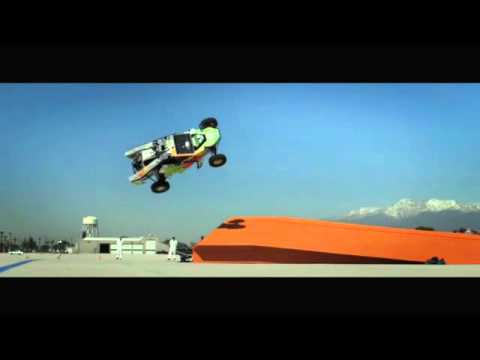Hot Wheels team does a record breaking giant corkscrew jump
