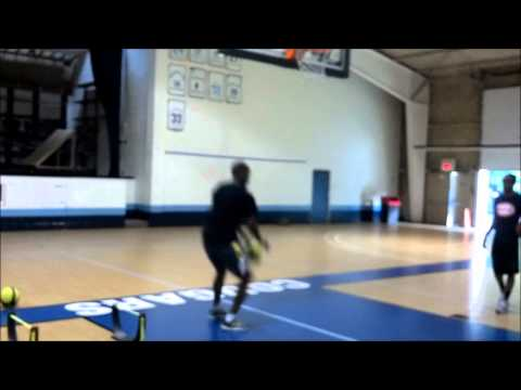 Two Hurdle Explosive Jumps to 4 Cone Touch to Lay up
