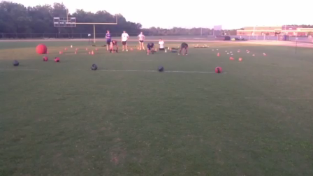 Resisted 10 Yard Drive Start to Medicine Ball with a quick grab and 10 yard acceleration