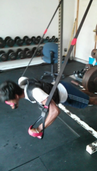 Suspension pushups with weight vest