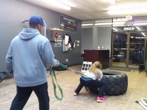 Tire flip with resistance bands